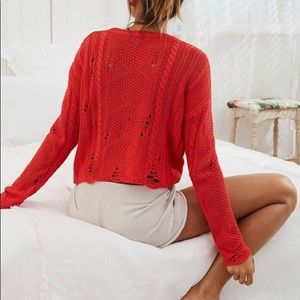 Aerie Distressed Cable Sweater